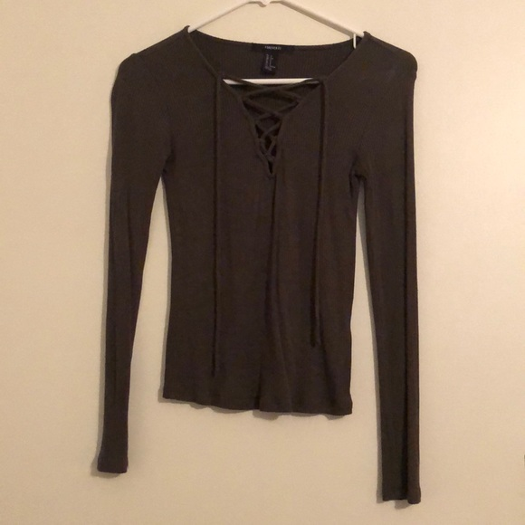 Forever 21 Tops - Forever 21 Lace Up Long Sleeve